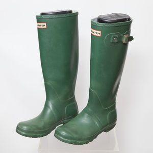 Womens Green Matte Tall Rain Boots Size 6